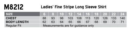 M8212 Women's Fine Stripe Long Sleeve Shirt