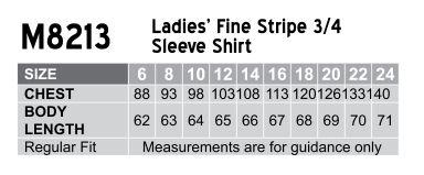 M8213 Women's Fine Stripe 3/4 Sleeve Shirt