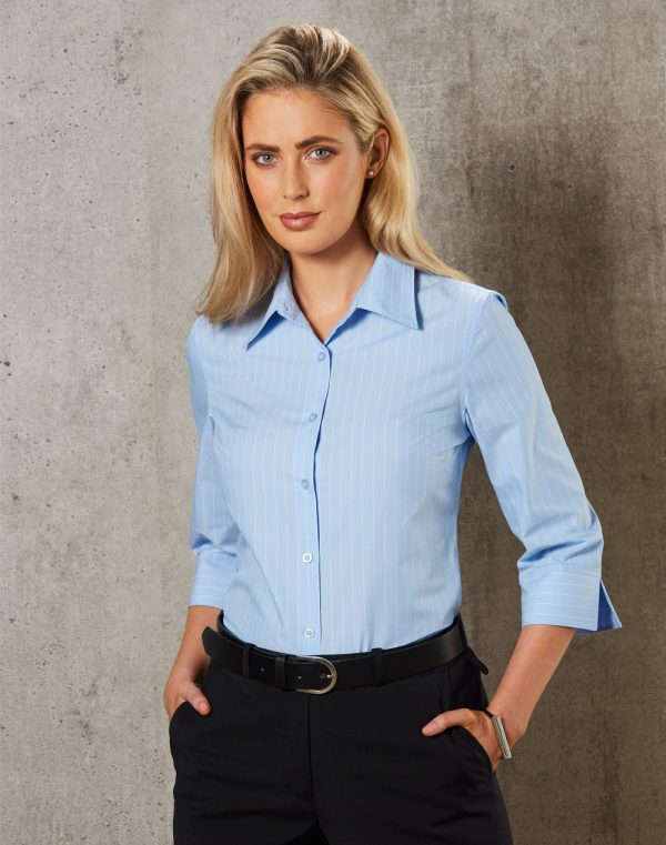 M8223 Women's Pin Stripe 3/4 Sleeve Shirt