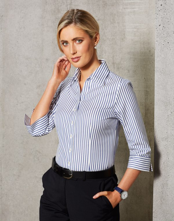 M8310Q Women's Executive Sateen Stripe 3/4 Sleeve Shirt