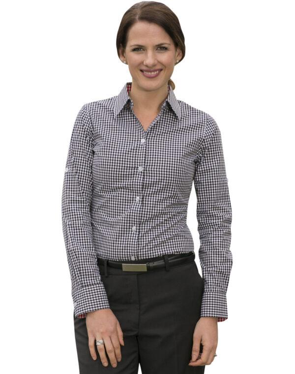 M8330L Ladies' Gingham Check Long Sleeve Shirt
