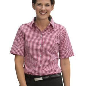 M8330S Ladies' Gingham Check Short Sleeve Shirt