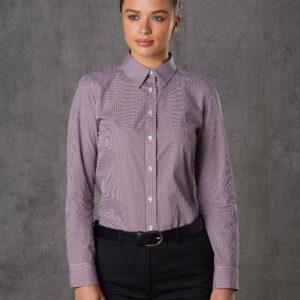 M8340L Ladies' Two Tone Mini Gingham Long Sleeve Shirt 1 | | Promotion Wear