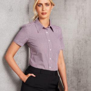 M8340S Ladies' Two Tone Mini Gingham Short Sleeve Shirt