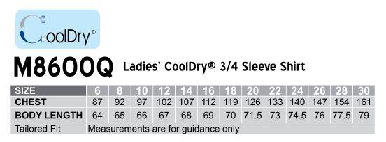 M8600Q Women's CoolDry 3/4 Sleeve Shirt