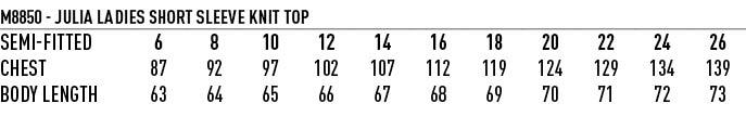 M8850 LADIES SHORT SLEEVE TOP JULIA