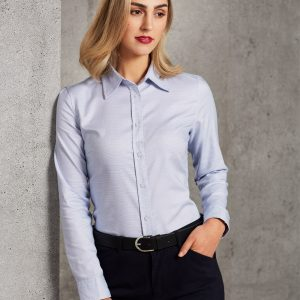 M8922 Laides' Dot Contrast Long Sleeve Shirt 3     Promotion Wear