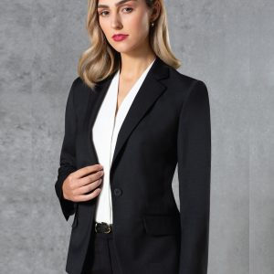 M9201 Ladies' Wool Blend Stretch One Button Cropped Jacket