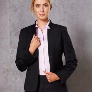 M9202 Ladies' Wool Blend Stretch Reverse Lapel Jacket