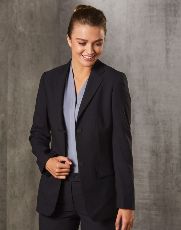 M9206 Women's Poly/Viscose Stretch Two Buttons Mid Length Jacket