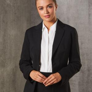 M9208 Women's Poly/Viscose Stretch Stripe One Button Cropped Jacket