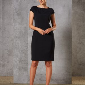M9281 Ladies' Wool Blend Stretch Cap Sleeve Dress 1 | | Promotion Wear