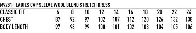 M9281 Ladies' Wool Blend Stretch Cap Sleeve Dress