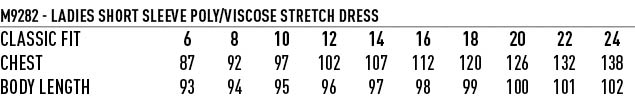 M9282 Ladies' Poly/Viscose Stretch, Short Sleeve Dress