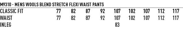 M9310 Men's Wool Blend Stretch Flexi Waist Pants