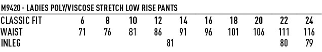 M9420 Women's Poly/Viscose Stretch Low Rise Pants
