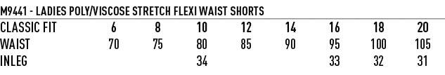 M9441 Women's Poly/Viscose Stretch Knee Length Flexi Waist Shorts