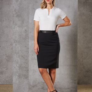 M9470 Women's Wool Blend Stretch Mid Length Lined Pencil Skirt