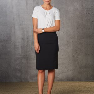 M9472 Women's Poly/Viscose Stretch Stripe Mid Length Lined Pencil Skirt