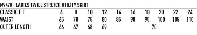 M9478 Women's Poly/Viscose Stretch Twill Flexi Waist A-line Utility Lined Skirt