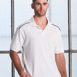 PS25 Mens Pure Cotton Contrast Piping Short Sleeve Polo