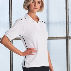 PS26 Ladies Pure Cotton Contrast Piping Short Sleeve Polo
