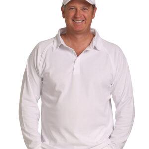 PS29L Mens TrueDry® Mesh Knit Long Sleeve Cricket Polo