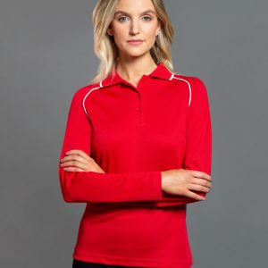 PS44 Ladies CoolDry® Long Sleeve Contrast Colour Polo