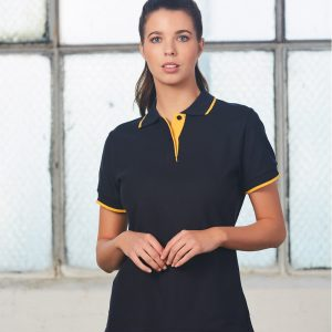 PS48A Ladies Poly/Cotton Contrast Pique Short Sleeve Polo