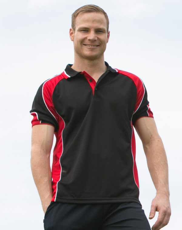 PS61 Mens CoolDry® Contrast Short Sleeve Polo with Sleeve Panels