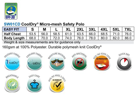 SW01CD High Visibility CoolDry Short Sleeve Polo