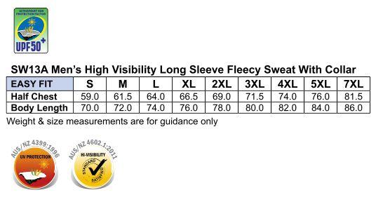 SW13A HI-VIS LONG SLEEVE FLEECE SWEAT
