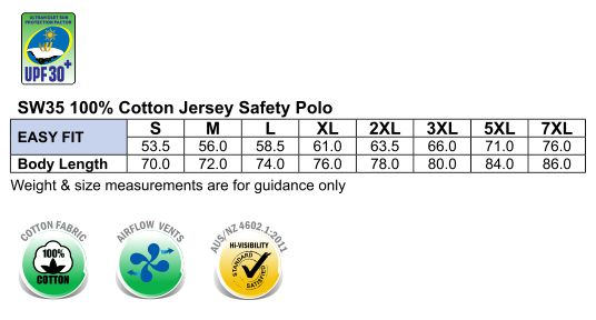 SW35 Cotton Jersey Two Tone Safety Polo
