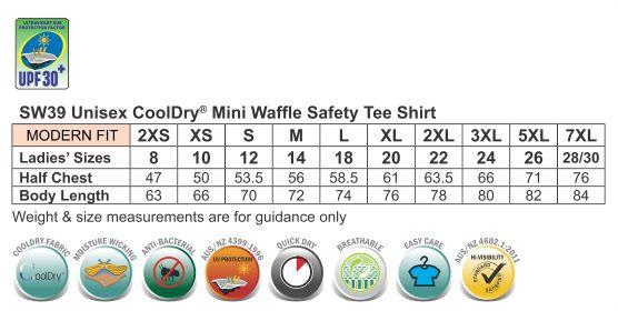 SW39 HI-VIS MINI WAFFLE SAFETY TEE-Unisex