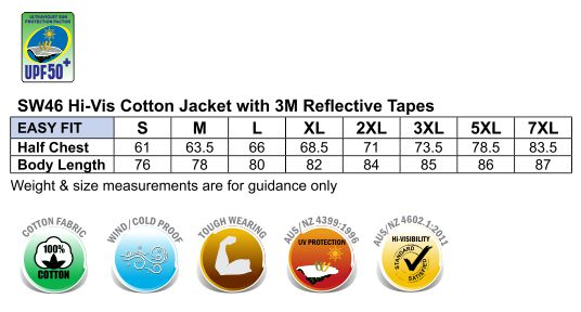 SW46 HI-VIS COTTON JACKET WITH 3M TAPES