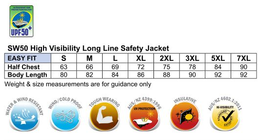 SW50 HI-VIS LONG LINE JACKET POLAR WITH FLEECE LINING