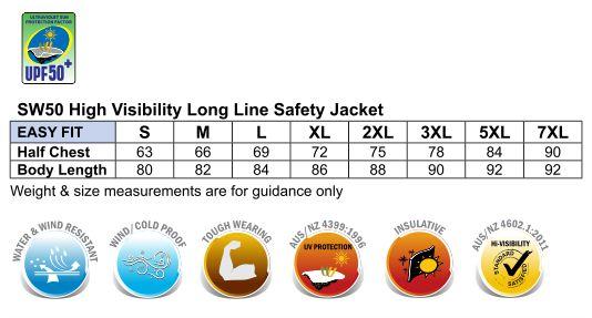 SW50 HI-VIS LONG LINE JACKET POLAR WITH FLEECE LINING