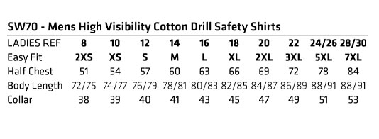 SW70 biomotion day/night light weight safety shirt with x back tape configuration