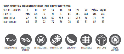 SW73 UNISEX TRUEDRY® BIOMOTION SEGMENTED SS SAFETY POLO