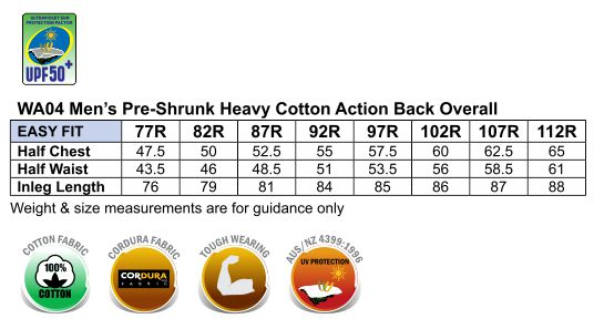 WA04 Men's DURABLE ACTION BACK OVERALL