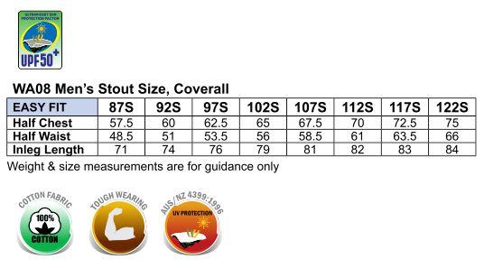 WA08 MEN'S COVERALL Stout Size