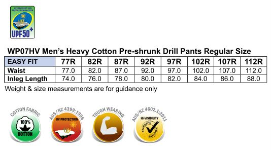 WP07HV PRE-SHRUNK DRILL PANTS WITH BIOMOTION 3M TAPES Regular Size