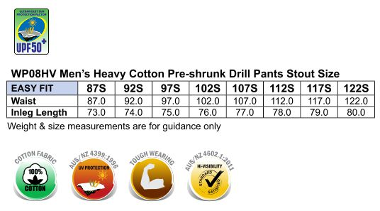 WP08HV PRE-SHRUNK DRILL PANTS WITH 3M TAPES Stout Size