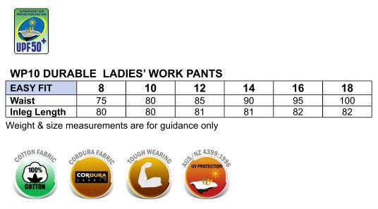 WP10 LADIES' DURABLE WORK PANTS