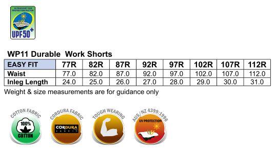 WP11 CORDURA DURABLE WORK SHORTS
