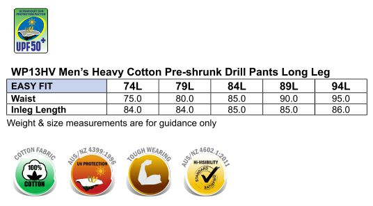WP13HV PRE-SHRUNK DRILL PANTS WITH 3M TAPES Long Leg