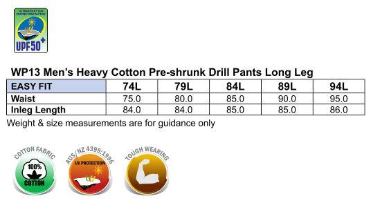 WP13 MEN'S HEAVY COTTON PRE-SHRUNK DRILL PANTS Long Leg