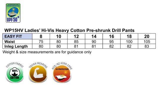 WP15HV LADIES' HEAVY COTTON DRILL CARGO PANTS WITH BIOMOTION 3M TAPES
