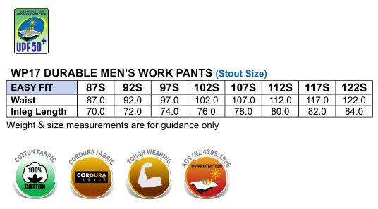 WP17 CORDURA DURABLE WORK PANTS Stout Size