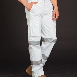 WP18HV Mens White Safety pants with Biomotion Tape Configuration